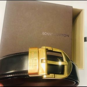 LOUIS VUITTON Brown Leather Classique Belt w box